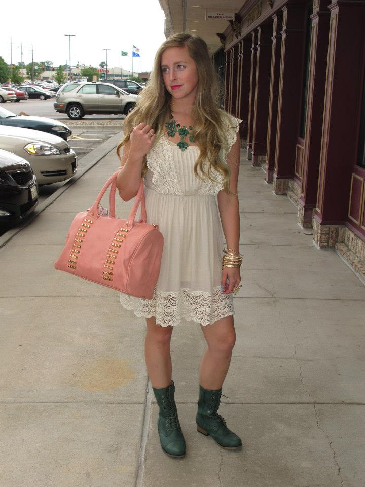 lace dress with combat boots | Gommap Blog